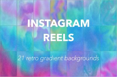 Instagram reels, 21 retro gradient backgrounds with grainy texture