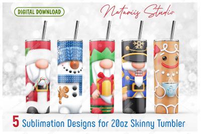5 Christmas sublimation designs - 20oz SKINNY TUMBLER.