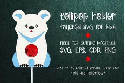 White Bear Lollipop Holder Template SVG