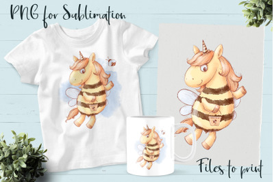 Bees Unicorn sublimation. Design for printing.