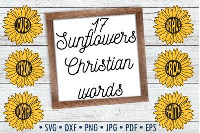 Sunflowers Christian Words SVG cut files