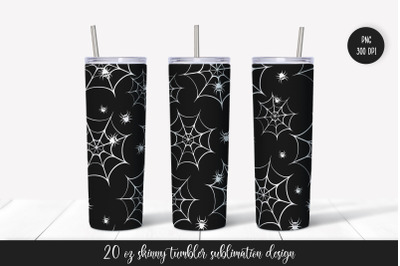 Halloween cobweb and spiders tumbler sublimation wrap