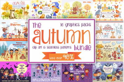 The Autumn bundle. Clip art and seamless patterns