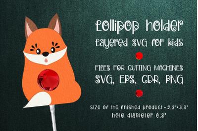 Red Fox Lollipop Holder template SVG