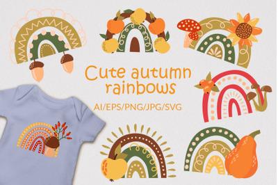 Cute autumn rainbows - SVG File