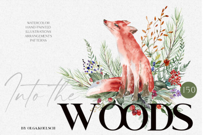 Watercolor forest animals clipart, Cute animals clipart, Woodland anim