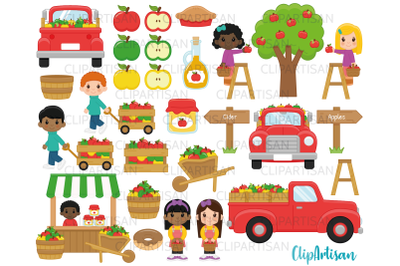 Fall Apple Picking Clipart, Apple Pickers, Fall Kids