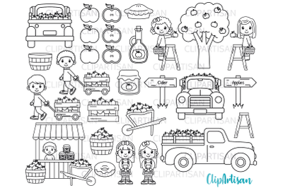 Fall Apple Picking Clipart, Fall Kids Digital Stamp