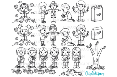 Fall Kids Clipart, Autumn Leaves Digital Stamp