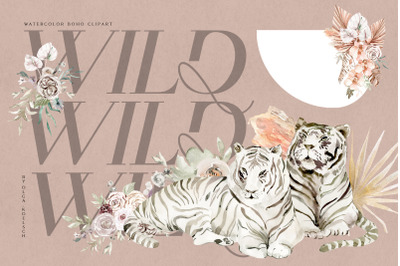 Watercolor boho tropical clipart, White tigers clipart, Wild animals