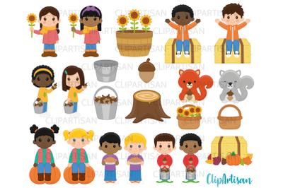 Fall Kids Clipart, Autumn Kids in Leaves Clip Art