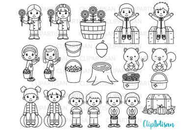 Fall Kids Clipart, Autumn Kids in Leaves Digital Stamp