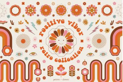 Positive viber. Retro hippie collection