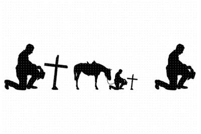 Kneeling Cowboy on a memorial cross SVG