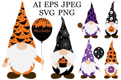 Halloween Gnomes. Gnomes SVG. Gnomes clipart. Gnomes vector