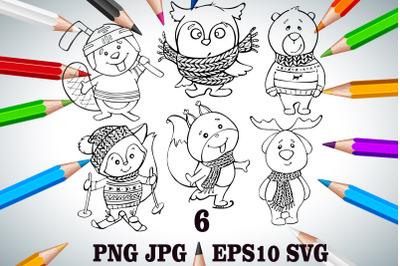 Merry Christmas Line PNG. winter clipart SVG. cute animals JPG. fox an