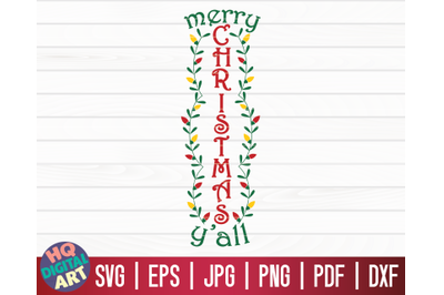 Merry Christmas Y'all SVG   Christmas Porch Sign SVG