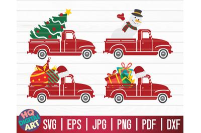 4 Christmas Trucks SVG Bundle