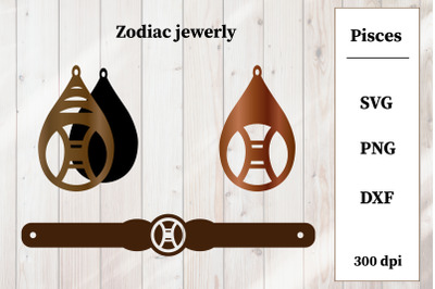 Set of jewelry with zodiac sign. Pisces Earrings, Bracelet