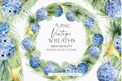 Christmas wreath clipart,Watercolor vintage red Christmas decor png