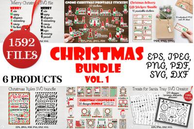 Christmas bundle Vol. 1. Christmas stickers. Christmas SVG bundle.