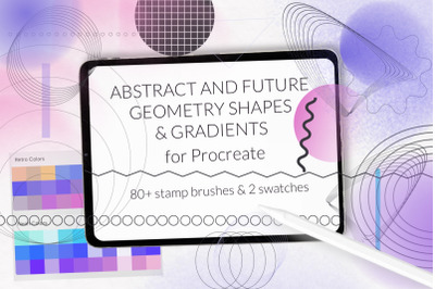 Procreate retro abstract shapes and geometry stamps
