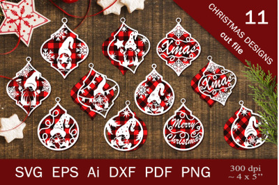 Gnomes on Christmas tree decorations. SVG for carving