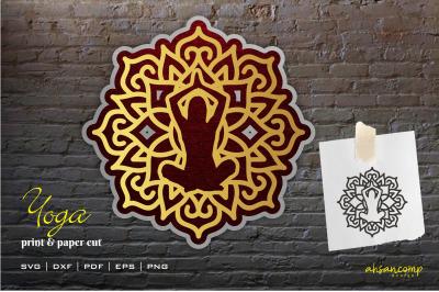 Yoga Mandala Vector 3D Layered #5