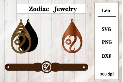 Set of jewelry with zodiac sign. Leo Earrings, Bracelet