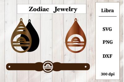 Set of jewelry with zodiac sign.Libra Earrings, Bracelet