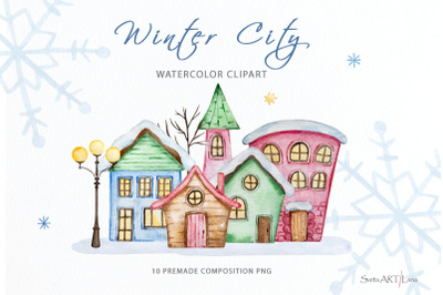 Watercolor Winter House Clipart, Christmas town clipart