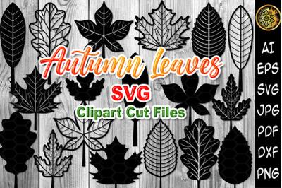 Autumn Leaves SVG Clipart Laser Cut Files Set
