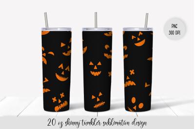 Creepy Halloween Pumpkin Faces Tumbler Sublimation Wrap