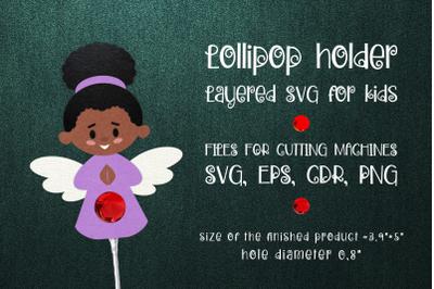 Black Girl Angel Lollipop Holder SVG