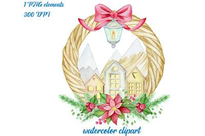 christmas  watercolor wreath. scandinavian village. watercolor clipart