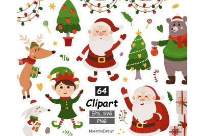 Christmas animals, santa clipart