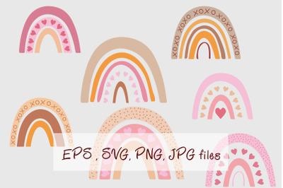 Boho Rainbows SVG Clipart