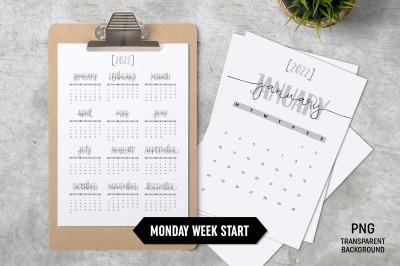 Calendar 2022 A4 Monday Start