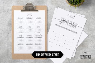 Calendar 2022 A4 Sunday Start