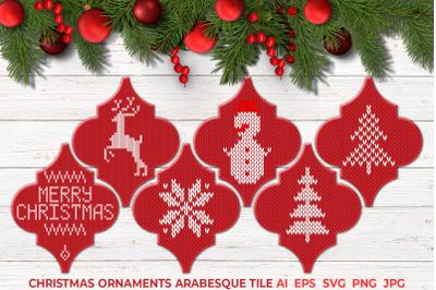Christmas Ornaments Arabesque Tile SVG