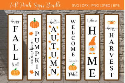Fall Porch Sign SVG Bundle. Autumn vertical signs. Welcome