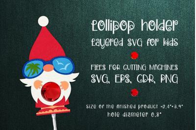Tropical Christmas Gnome Lollipop Holder Template SVG