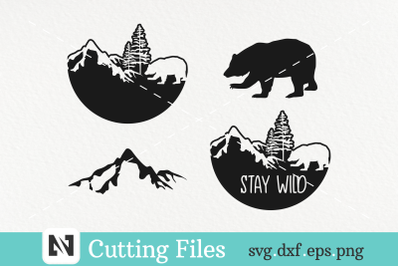 A Bundle of Bear and Mountain Silhouette Svg Vector File