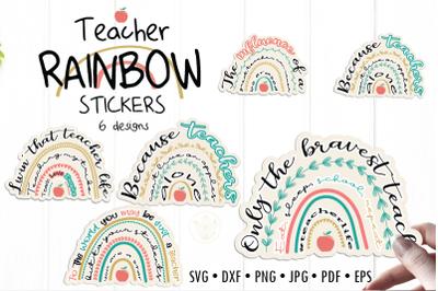 Teacher Rainbow Bundle Sticker designs