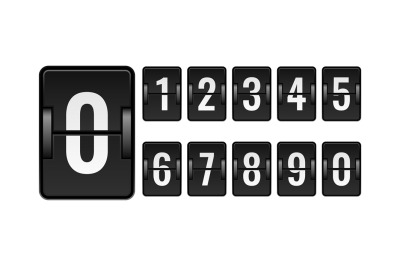 Scoreboard mechanical. Numbers for counter. Flipping watch panel eleme