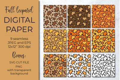 Leopard digital paper. Fall maple leaves leopard print