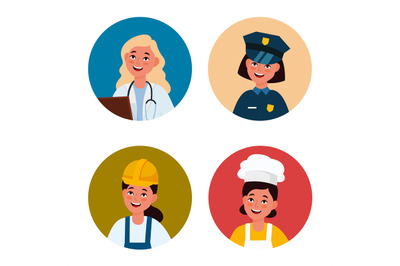 Professional female avatar. Workers women in uniform. Circles with hap