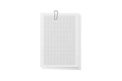 Realistic sheets with holder and clip. Mockup memo. White copybook bla