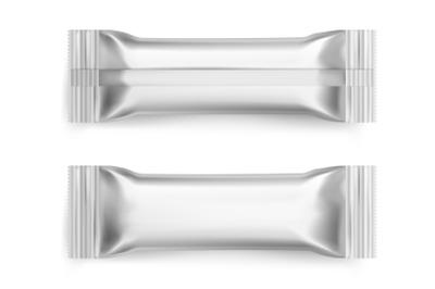 Sachet. Realistic white sugar packet. 3D blank foil packaging mockup f