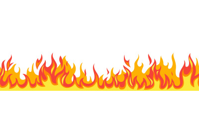 Seamless fire flame. Flaming pattern. Flammable horizontal line. Red a